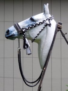 Figure 8. 'Hanson' bridle. Unlike the Kuwait bridle, the cheek pieces (ending in large tassels) are adjustable to fit horses of all sizes. The small tassel shows the point of attachment of the throat latch (Figs. 5 & 6). © 2015, Robert Cook, photo: Fridtjof Hanson
