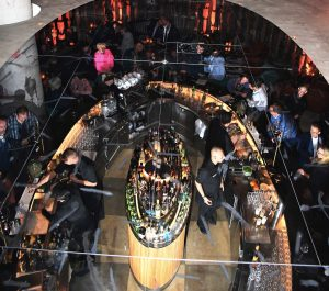 Looking down onto the bar in Layla through mirrors. © starpress